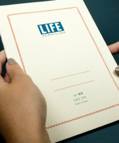 Life Vermillion Notebook on Dark - Held
