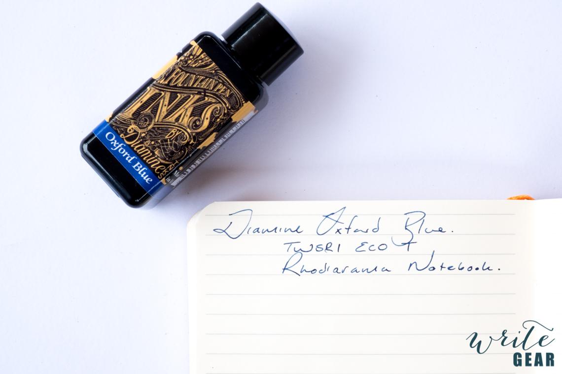 Diamine Oxford Blue Writing Sample - Rhodia Paper
