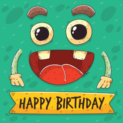 Birthday Gift Card with Smiley Monster